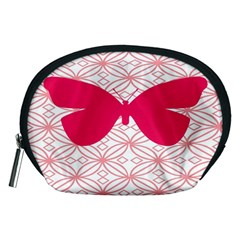 Butterfly Animals Pink Plaid Triangle Circle Flower Accessory Pouches (Medium)
