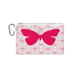 Butterfly Animals Pink Plaid Triangle Circle Flower Canvas Cosmetic Bag (S)