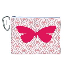 Butterfly Animals Pink Plaid Triangle Circle Flower Canvas Cosmetic Bag (L)