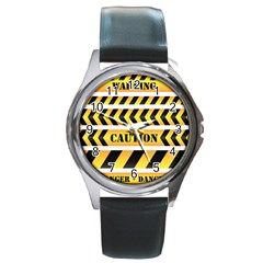 Caution Road Sign Warning Cross Danger Yellow Chevron Line Black Round Metal Watch
