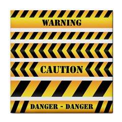 Caution Road Sign Warning Cross Danger Yellow Chevron Line Black Tile Coasters