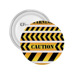 Caution Road Sign Warning Cross Danger Yellow Chevron Line Black 2.25  Buttons