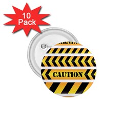 Caution Road Sign Warning Cross Danger Yellow Chevron Line Black 1 75  Buttons (10 Pack)