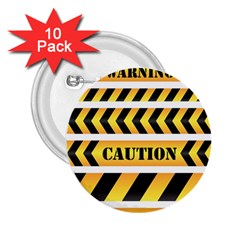 Caution Road Sign Warning Cross Danger Yellow Chevron Line Black 2.25  Buttons (10 pack)