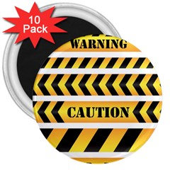 Caution Road Sign Warning Cross Danger Yellow Chevron Line Black 3  Magnets (10 pack)