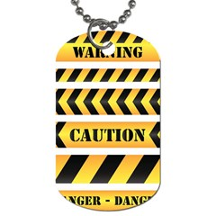 Caution Road Sign Warning Cross Danger Yellow Chevron Line Black Dog Tag (Two Sides)