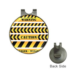 Caution Road Sign Warning Cross Danger Yellow Chevron Line Black Hat Clips with Golf Markers