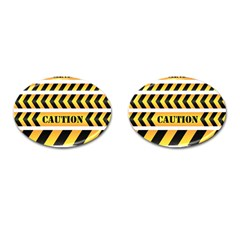 Caution Road Sign Warning Cross Danger Yellow Chevron Line Black Cufflinks (Oval)
