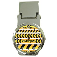 Caution Road Sign Warning Cross Danger Yellow Chevron Line Black Money Clip Watches