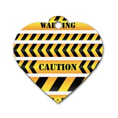 Caution Road Sign Warning Cross Danger Yellow Chevron Line Black Dog Tag Heart (Two Sides)