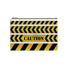 Caution Road Sign Warning Cross Danger Yellow Chevron Line Black Cosmetic Bag (Medium)