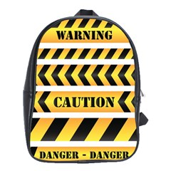 Caution Road Sign Warning Cross Danger Yellow Chevron Line Black School Bags(Large)