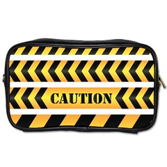 Caution Road Sign Warning Cross Danger Yellow Chevron Line Black Toiletries Bags 2-Side