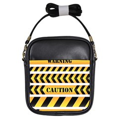 Caution Road Sign Warning Cross Danger Yellow Chevron Line Black Girls Sling Bags