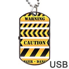 Caution Road Sign Warning Cross Danger Yellow Chevron Line Black Dog Tag Usb Flash (two Sides)