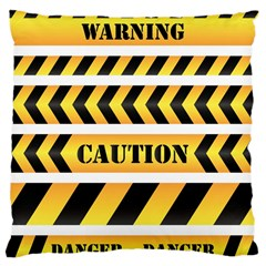 Caution Road Sign Warning Cross Danger Yellow Chevron Line Black Large Cushion Case (Two Sides)