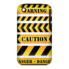 Caution Road Sign Warning Cross Danger Yellow Chevron Line Black iPhone 3S/3GS