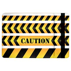 Caution Road Sign Warning Cross Danger Yellow Chevron Line Black iPad Air Flip