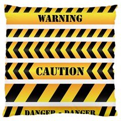 Caution Road Sign Warning Cross Danger Yellow Chevron Line Black Standard Flano Cushion Case (Two Sides)