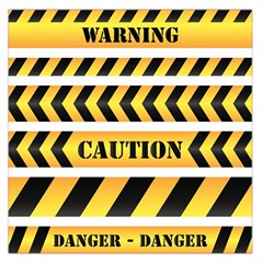 Caution Road Sign Warning Cross Danger Yellow Chevron Line Black Large Satin Scarf (Square)