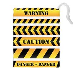 Caution Road Sign Warning Cross Danger Yellow Chevron Line Black Drawstring Pouches (XXL)