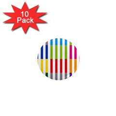 Color Bars Rainbow Green Blue Grey Red Pink Orange Yellow White Line Vertical 1  Mini Magnet (10 pack)