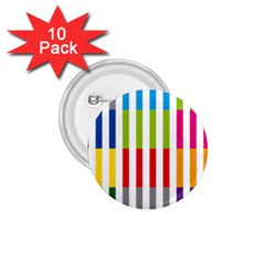 Color Bars Rainbow Green Blue Grey Red Pink Orange Yellow White Line Vertical 1.75  Buttons (10 pack)
