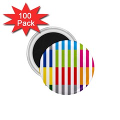 Color Bars Rainbow Green Blue Grey Red Pink Orange Yellow White Line Vertical 1.75  Magnets (100 pack)