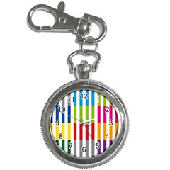 Color Bars Rainbow Green Blue Grey Red Pink Orange Yellow White Line Vertical Key Chain Watches