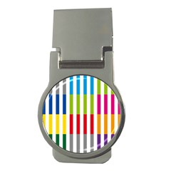 Color Bars Rainbow Green Blue Grey Red Pink Orange Yellow White Line Vertical Money Clips (Round)