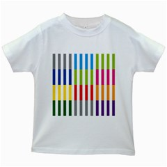 Color Bars Rainbow Green Blue Grey Red Pink Orange Yellow White Line Vertical Kids White T-Shirts