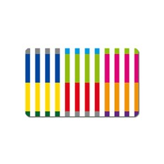 Color Bars Rainbow Green Blue Grey Red Pink Orange Yellow White Line Vertical Magnet (Name Card)