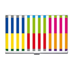Color Bars Rainbow Green Blue Grey Red Pink Orange Yellow White Line Vertical Business Card Holders