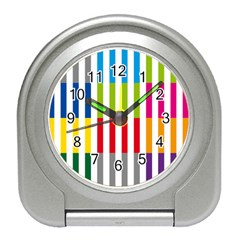 Color Bars Rainbow Green Blue Grey Red Pink Orange Yellow White Line Vertical Travel Alarm Clocks