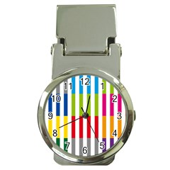 Color Bars Rainbow Green Blue Grey Red Pink Orange Yellow White Line Vertical Money Clip Watches