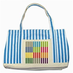 Color Bars Rainbow Green Blue Grey Red Pink Orange Yellow White Line Vertical Striped Blue Tote Bag