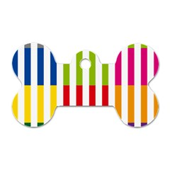 Color Bars Rainbow Green Blue Grey Red Pink Orange Yellow White Line Vertical Dog Tag Bone (Two Sides)