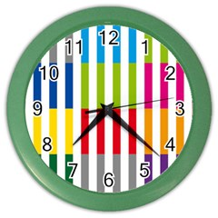 Color Bars Rainbow Green Blue Grey Red Pink Orange Yellow White Line Vertical Color Wall Clocks