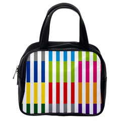 Color Bars Rainbow Green Blue Grey Red Pink Orange Yellow White Line Vertical Classic Handbags (One Side)