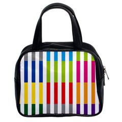 Color Bars Rainbow Green Blue Grey Red Pink Orange Yellow White Line Vertical Classic Handbags (2 Sides)