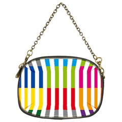 Color Bars Rainbow Green Blue Grey Red Pink Orange Yellow White Line Vertical Chain Purses (Two Sides)