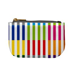 Color Bars Rainbow Green Blue Grey Red Pink Orange Yellow White Line Vertical Mini Coin Purses