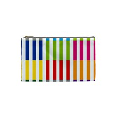 Color Bars Rainbow Green Blue Grey Red Pink Orange Yellow White Line Vertical Cosmetic Bag (Small)