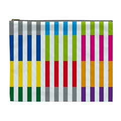 Color Bars Rainbow Green Blue Grey Red Pink Orange Yellow White Line Vertical Cosmetic Bag (XL)