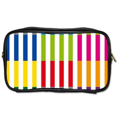 Color Bars Rainbow Green Blue Grey Red Pink Orange Yellow White Line Vertical Toiletries Bags 2-Side