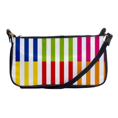 Color Bars Rainbow Green Blue Grey Red Pink Orange Yellow White Line Vertical Shoulder Clutch Bags
