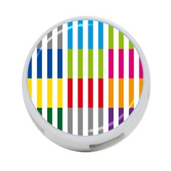 Color Bars Rainbow Green Blue Grey Red Pink Orange Yellow White Line Vertical 4-Port USB Hub (Two Sides)