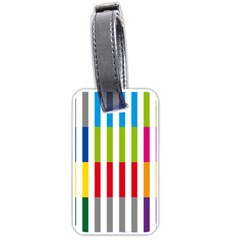 Color Bars Rainbow Green Blue Grey Red Pink Orange Yellow White Line Vertical Luggage Tags (One Side)