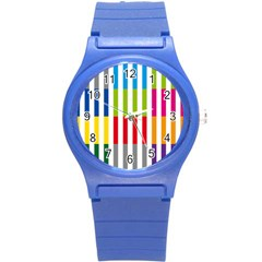 Color Bars Rainbow Green Blue Grey Red Pink Orange Yellow White Line Vertical Round Plastic Sport Watch (S)