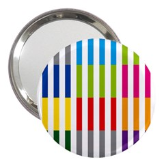 Color Bars Rainbow Green Blue Grey Red Pink Orange Yellow White Line Vertical 3  Handbag Mirrors